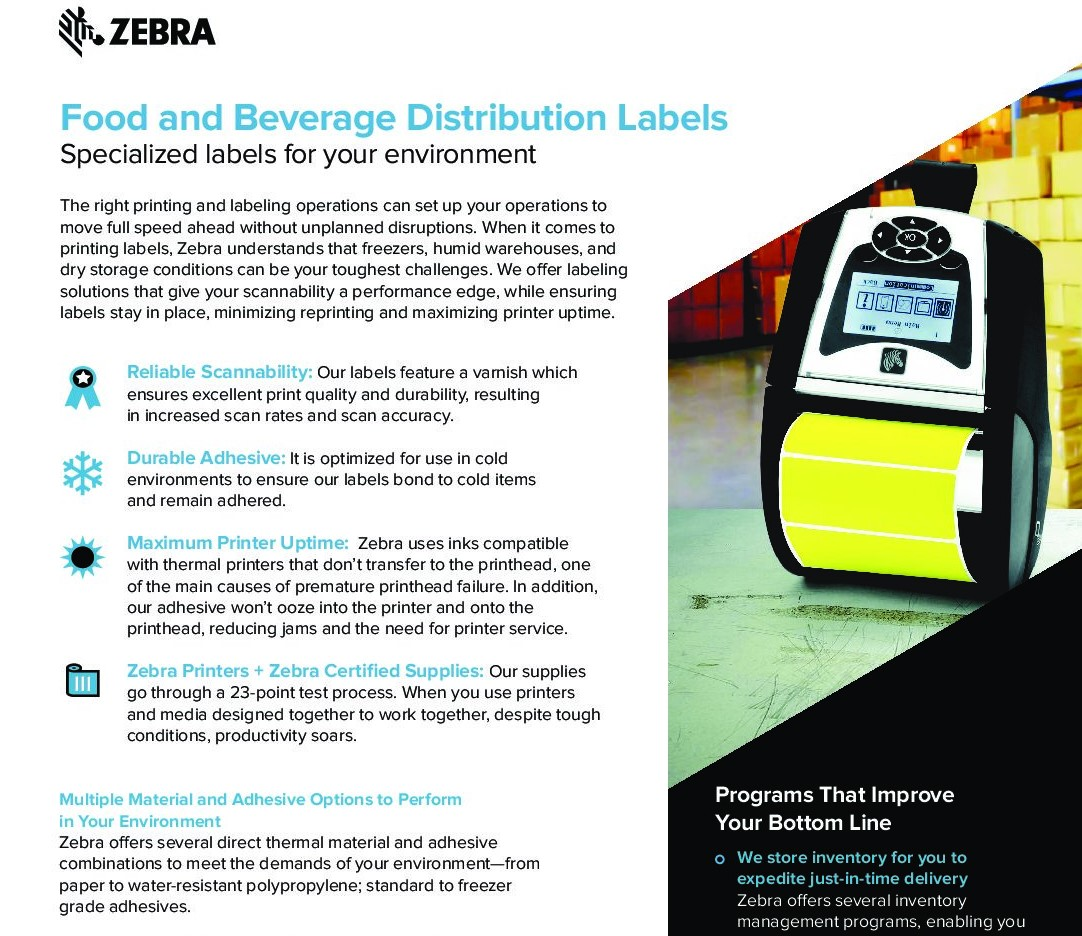 Cover for Food and Beverage Distribution Labels