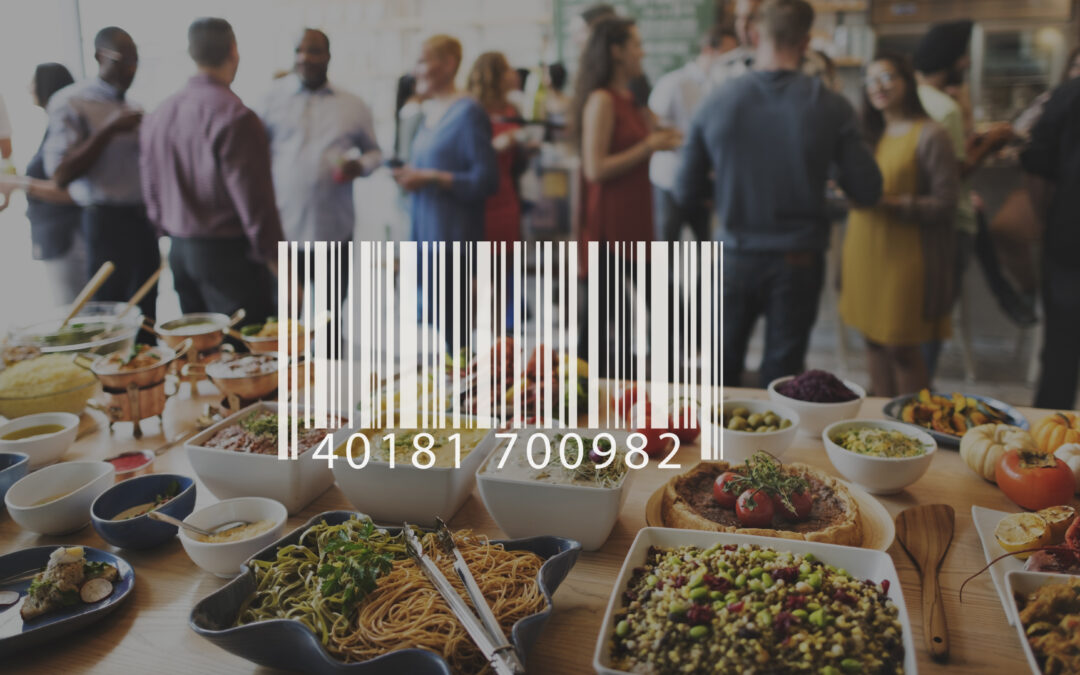 Food at a party with a bar code